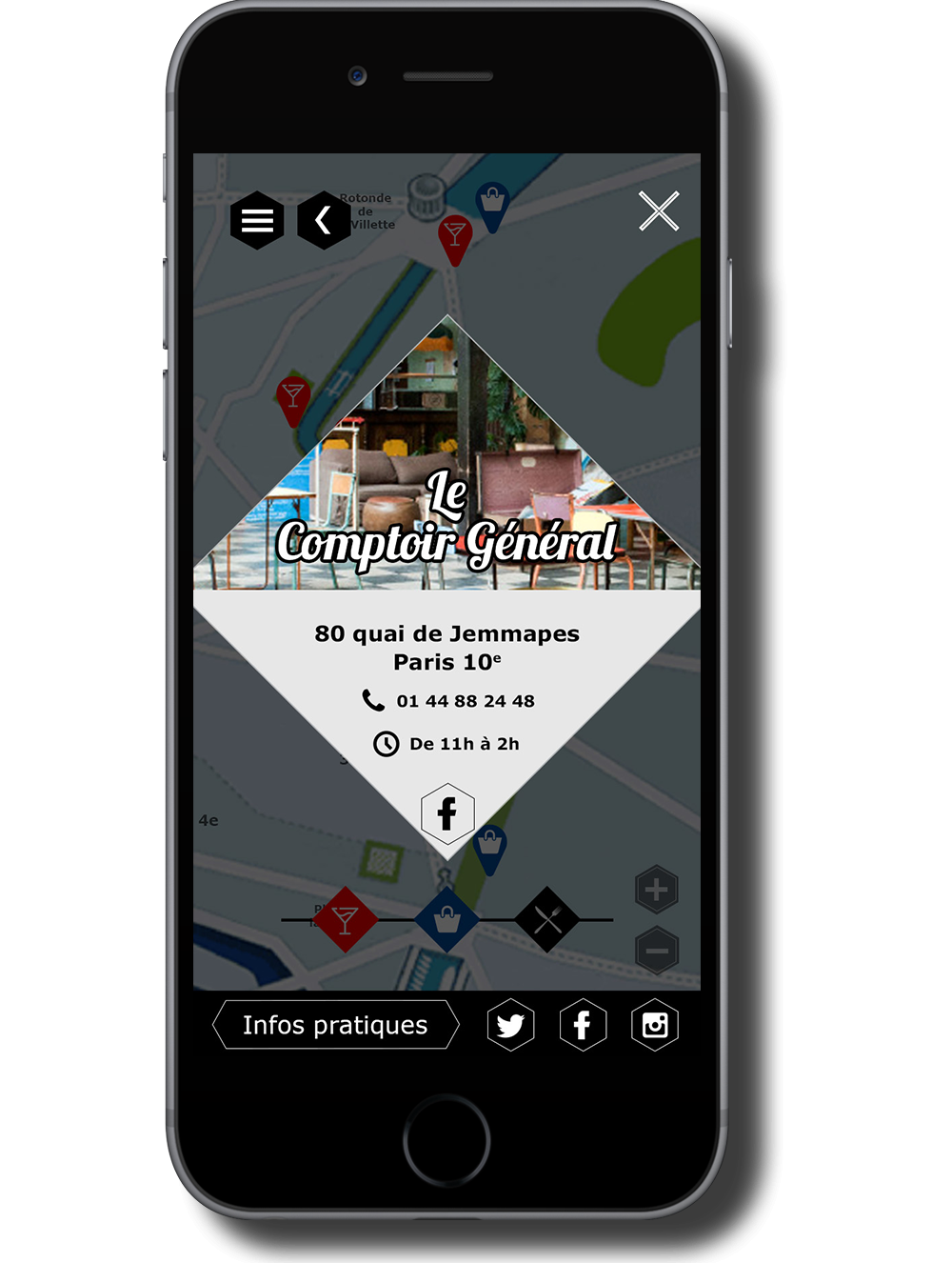 Wireframe mobile site web Canal Saint Martin Fiche commerce