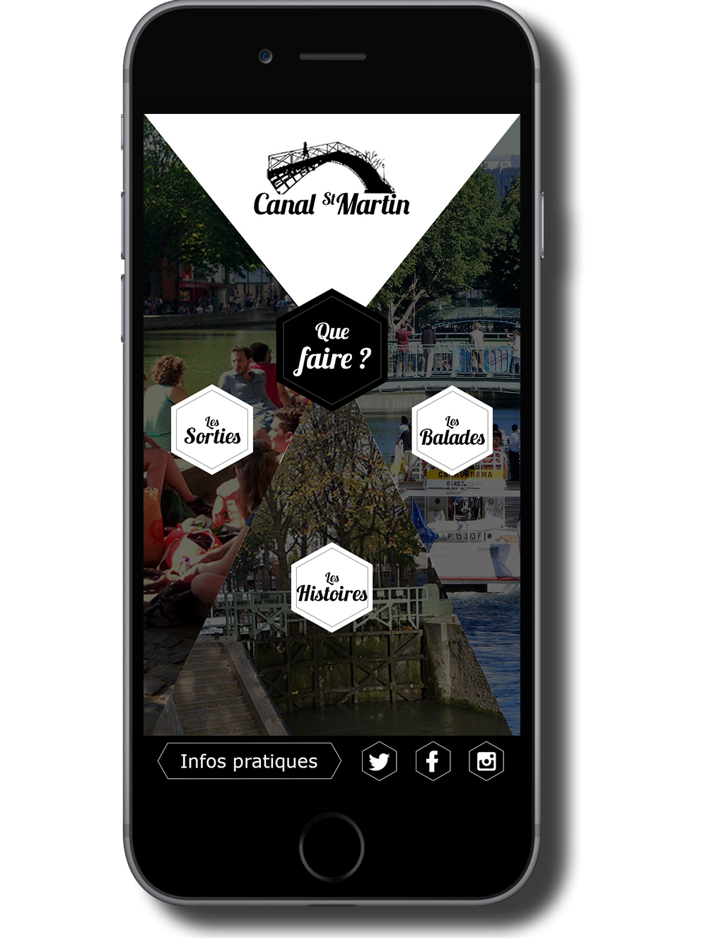 Wireframe mobile site web Canal Saint Martin Homepage