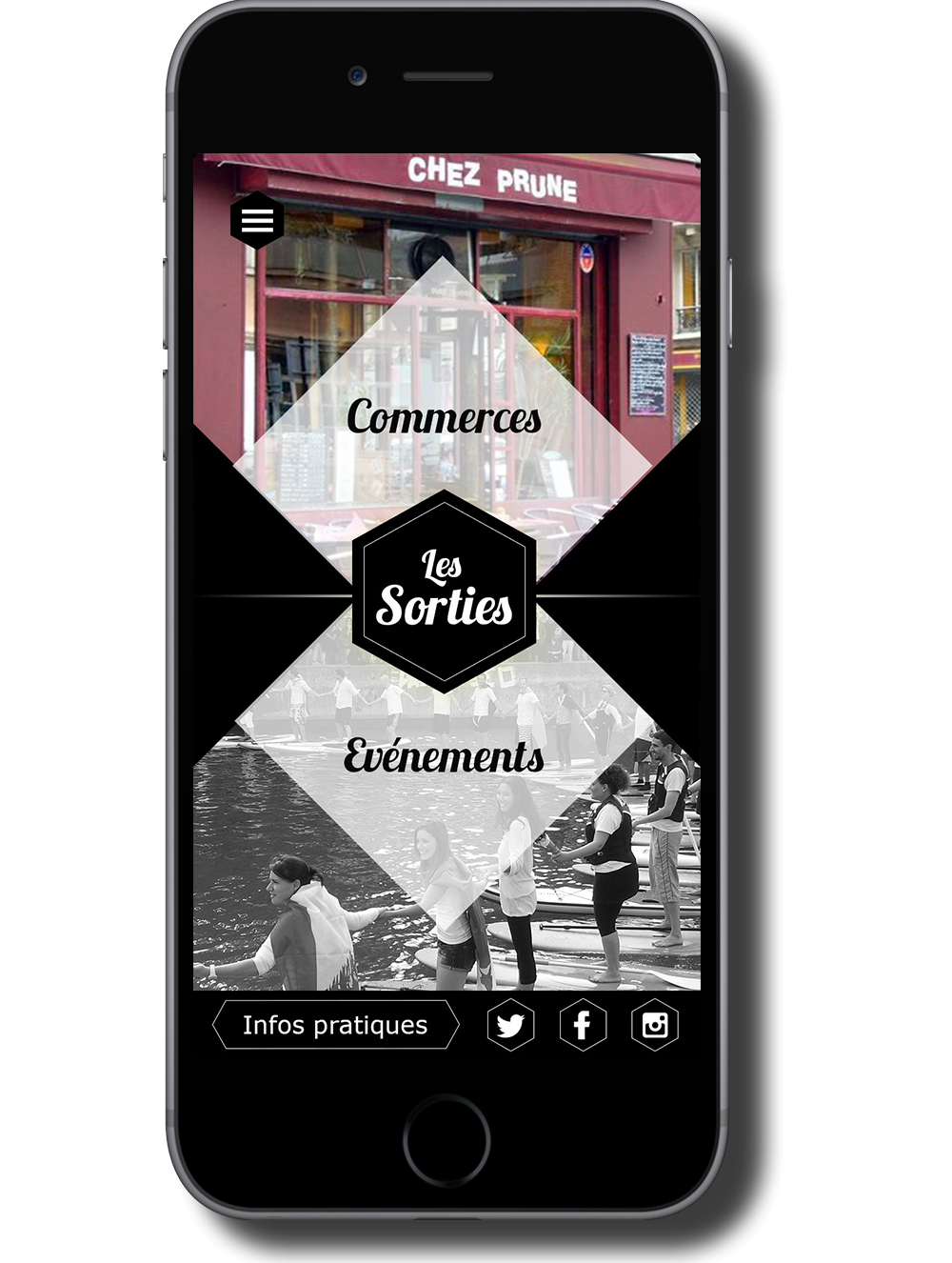 Wireframe mobile site web Canal Saint Martin page sortiest