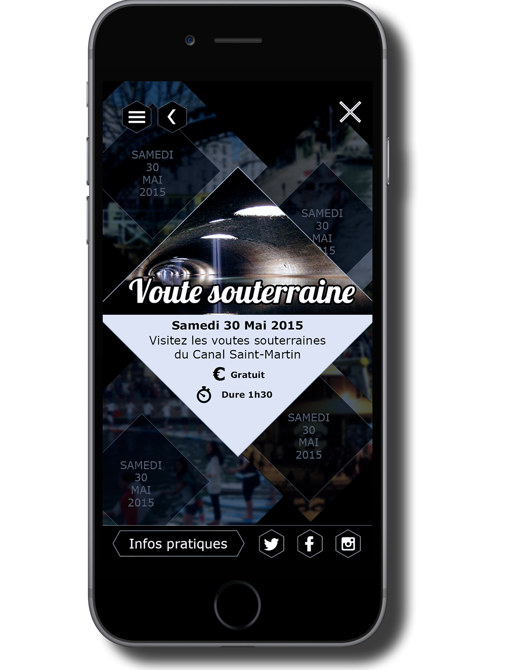 Wireframe mobile site web Canal Saint Martin Fiche visite
